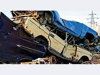 Cars on scrap metal