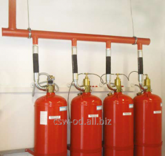 Gas extinguishing installation