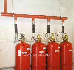 Gas extinguishing installation