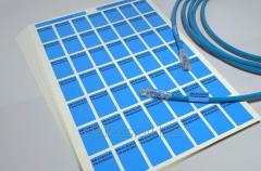 Stickers, blue color, for marking of a cable, with