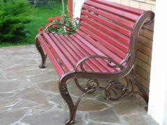 The bench is park, a bench park, sidewalls from