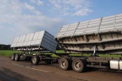 Bronton-70 автопоезд-зерновоз.Погрузка и выгрузка
