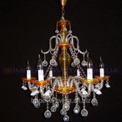 Люстра со свечами хрустальная SVET шестиламповая