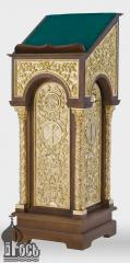 Аналой деревянный одинарный №3, с золочеными элементами