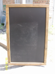 Wooden board of the menu for the letter chalk.