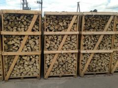 Firewood chipped in boxes