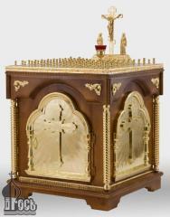 Стол панихидный на 88 свечей с деревянной тумбой и позолоченными элементами