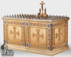 Стол панихидный двойной на 118 свечей с металлической тумбой