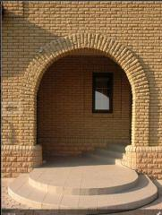Brick front facing of limestone