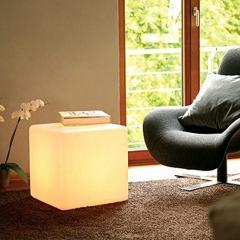 Cube, padded stool, cube with illumination, a cube