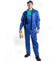 The suit consists of a jacket and semi-overalls,