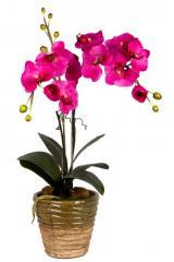 Искусственная орхидея средняя в коричневом горшке