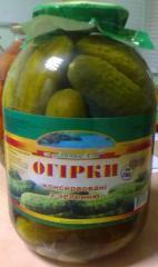 Cucumbers whole tinned, pickles, Ukraine