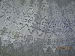 Тюль органза белая с вышивкой макраме