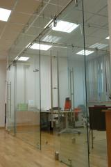 Office partitions. Partitions office of glass