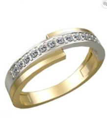 Кольцо обручальное с фианитом