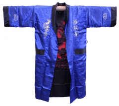 Reversible silk men's dressing gown with an