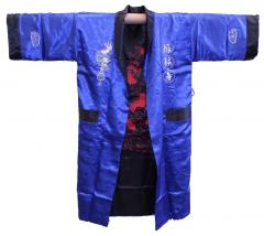 Двусторонний шелковый мужской халат с вышивкой
