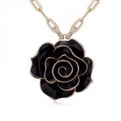 Колье черная роза цветок на цепочке позолота кулон