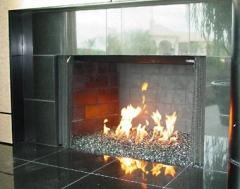 Heat-resistant glass for a fireplace