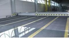 Lines of cutting of glass. equipment for glass