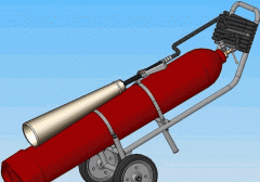 Mobile carbon dioxide VVK-28 fire extinguisher