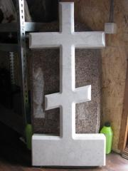 Cross from white marble in Pryadko warehouse state
