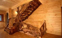 Wooden spiral staircases carved
