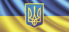 The Ukrainian flag with the coat of arms. Any sizes