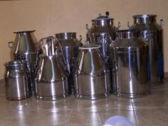 Cans, buckets from stainless steel, polycarbonate