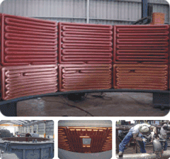 Pipe elements, heating surface, copper elements