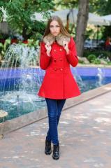 Пальто Аника с мехом красный. Код продукта:823