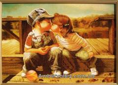 Панно из янтаря Первый поцелуй (Дональд Золан)