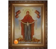 Икона из янтаря Покрова 20*30