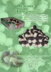 Cookies in dark confectionery glaze mushrooms