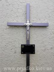 Крест на могилу, Крест сварной ритуальный с элементами ковки;