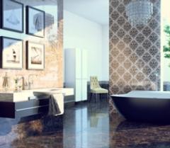Tile for bathing Lorenzo Intarsia dark-beige