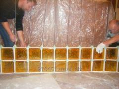 """Glass block yellow Brilly 1908W """"Wave"""""""