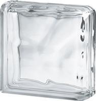 Стеклоблок торцевой (два торца) 1908\W Double End Wave прозрачный (Чехия)