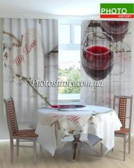 Cloth and curtain on kitchen a glass of wine