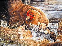 Шелк с рисунком для вышивания бисером Котята в