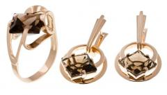 Earrings + a ring from gold 585 ° tests, an