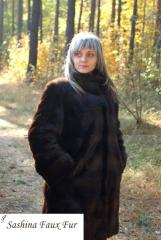 Coat from imitation of a mink