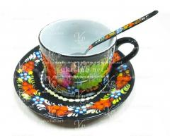 Cup with a saucer are painted in manual with a