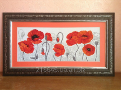 """The embroidered picture """"Scarlet Poppies"""