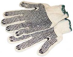Working gloves with PVC knitted