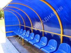 Benches, benches of spare. Seats for stadiums