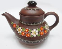 The teapot is ceramic