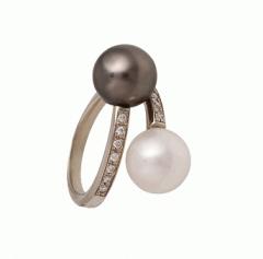 Кольцо,  золото Au 585° пробы , черный и белый