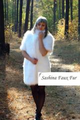 Fur coat from imitation of fur of a white